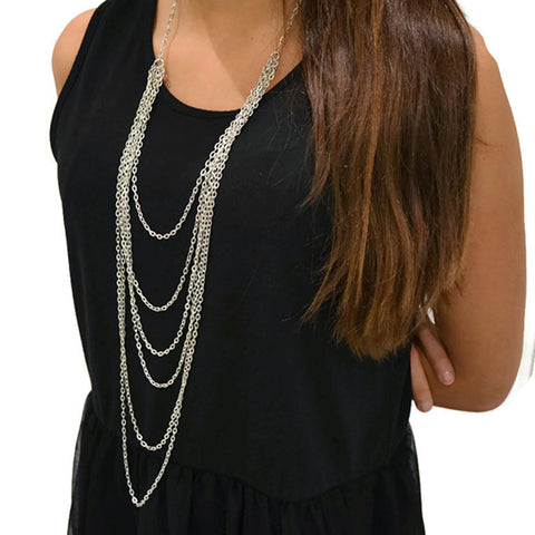 Silver Chain Drape Necklace