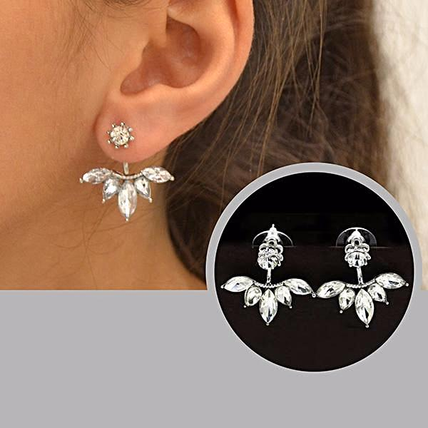 White Ice Ear Jacket Stud Earrings