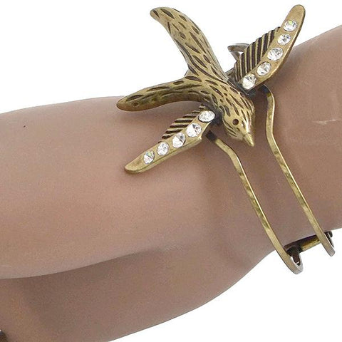 Statement Bracelets Antique Gold Swallow Bangle Wear With Love