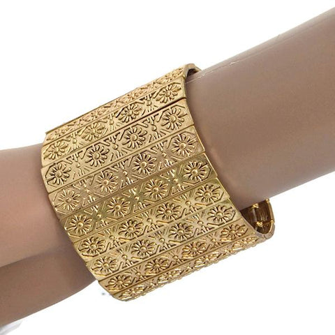 Statement Bracelets Chunky Gold Engraved Cuff Bracelet Wear With Love