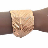 Statement Bracelets Curved Gold Leaf Cuff Bracelet Wear With Love