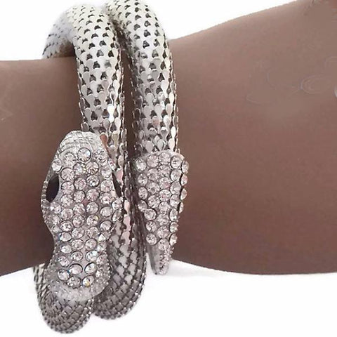 Statement Bracelets Funky Silver Snake Wrap Cuff Bracelet Wear With Love