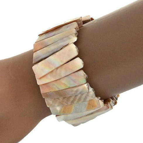 Statement Bracelets Handmade Natural Mother Of Pearl Shell Bracelet Wear With Love