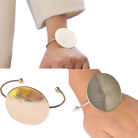 Statement Bracelets Modern Metal Disc Wear With Love