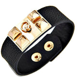 Statement Bracelets Punk Black & Gold Wide Celebrity Style Mrs Beckham Stud Rivet Pyramid Bracelet Cuff Wear With Love