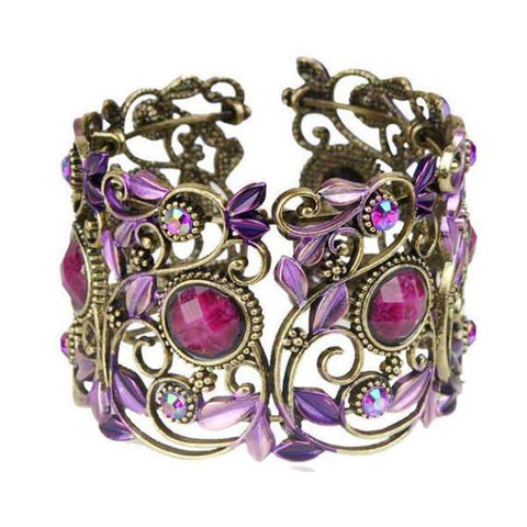 Statement Bracelets Purple Carved Festival Bracelet Wear With Love