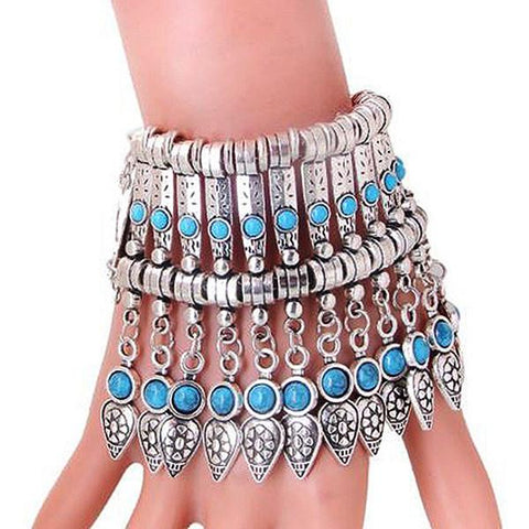 Statement Bracelets Tibetan Silver Turquoise Bohemian Tribal Tassel Bracelet Wear With Love