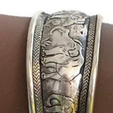 Statement Bracelets Tibetan Silver Wide Design Elephant Cuff Bracelet Wear With Love