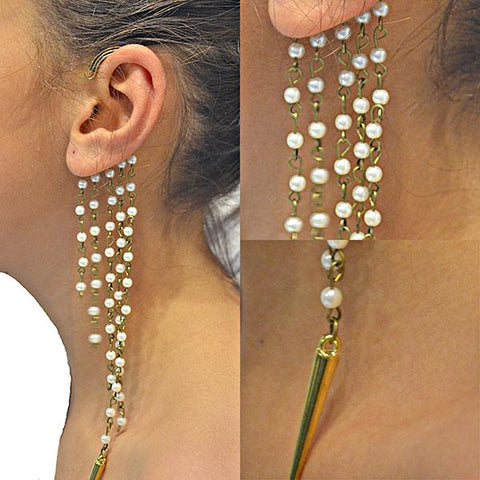 Studs Earrings Bijoux Long Bead & Chain Ear Cuff Wear With Love