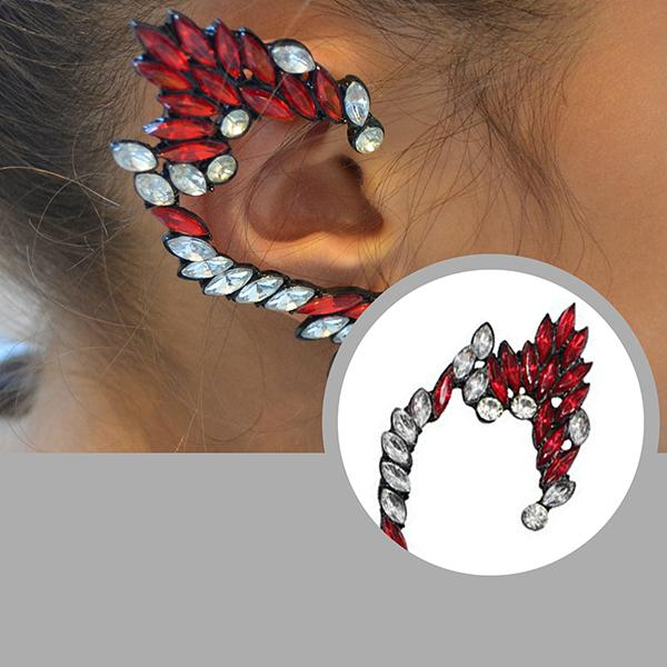 Studs Earrings Blaze Crystal Elf Ear Jacket Cuff Wear With Love