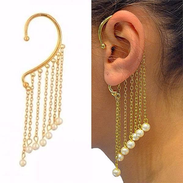 Studs Earrings Boho Chain & Pearl Gold Ear Cuff Wear With Love