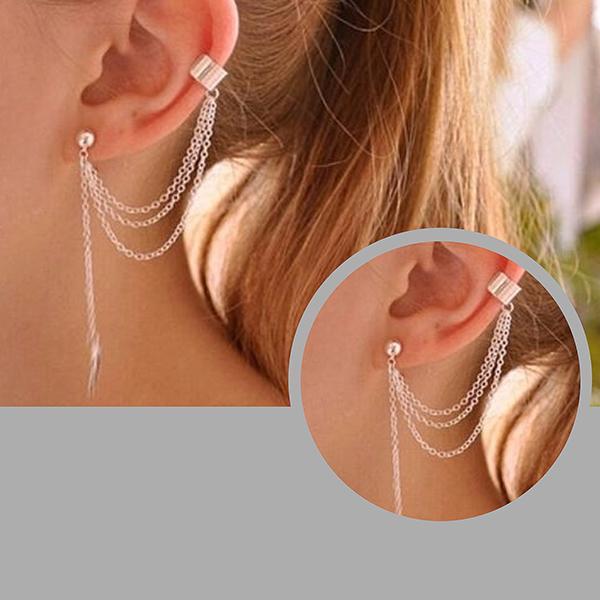 Studs Earrings Chain & Leaf Ear Cuff Stud Wear With Love