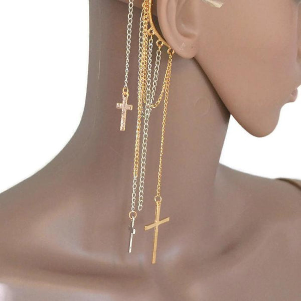 Studs Earrings Cross & Chain Tassel Dangle Ear Cuff Wear With Love