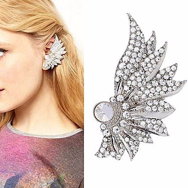 Studs Earrings Crystal Wing Ear Jacket Stud Wear With Love