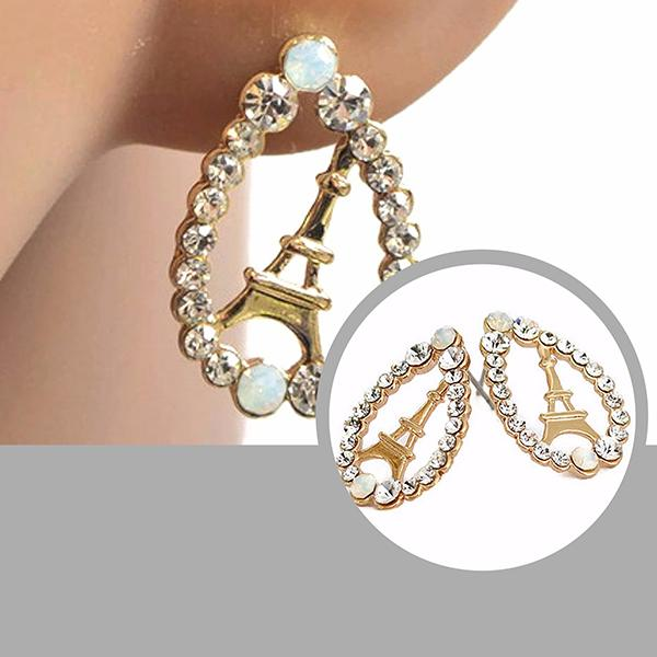 Studs Earrings Eiffel Tower Gold Encrusted Stud Wear With Love