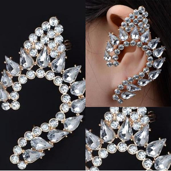 Studs Earrings Fantasia Crystal Elf Ear Jacket Wear With Love