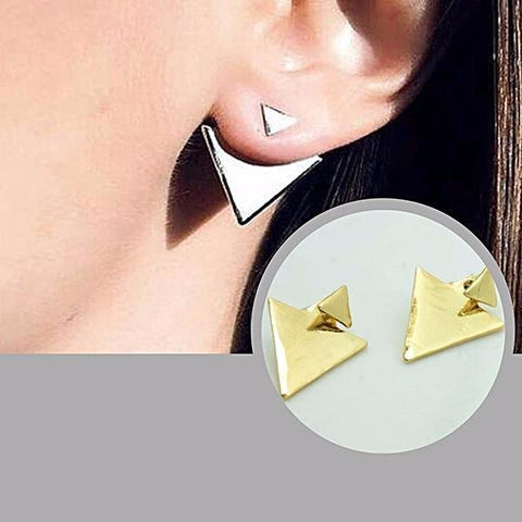 Studs Earrings Geometric Ear Jacket Triangle Stud Wear With Love