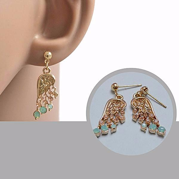 Studs Earrings Gold Feather Crystal Stud Wear With Love