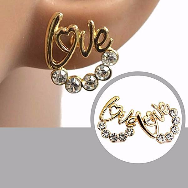 Studs Earrings Gold Love Stud Wear With