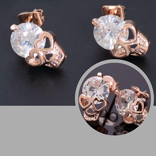 Studs Earrings Gold Plated Crystal Skull Wear With Love