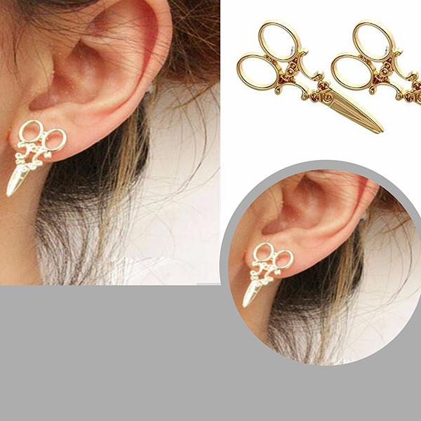 Studs Earrings Kitsch Scissors Stud Wear With Love
