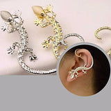 Studs Earrings Large Rhinestone Gecko Stud Cuff Wear With Love