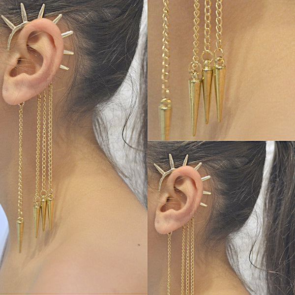 Studs Earrings Punk Chain Spike Ear Cuff Wear With Love