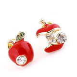 Studs Earrings Quirky Apple Enamel Stud Wear With Love