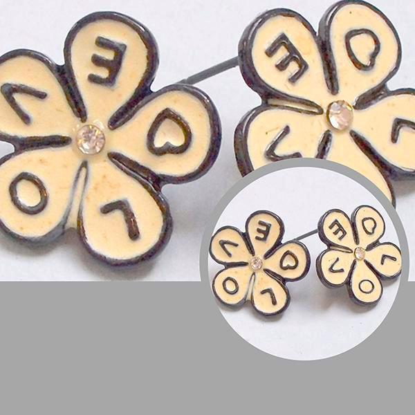 Studs Earrings Retro Daisy Shape Enamel Love Wear With