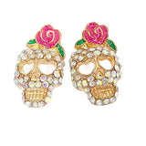 Studs Earrings Rose & Skull Stud Wear With Love