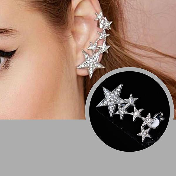 Studs Earrings Shooting Stars Silver Ear Jacket Cuff Wear With Love