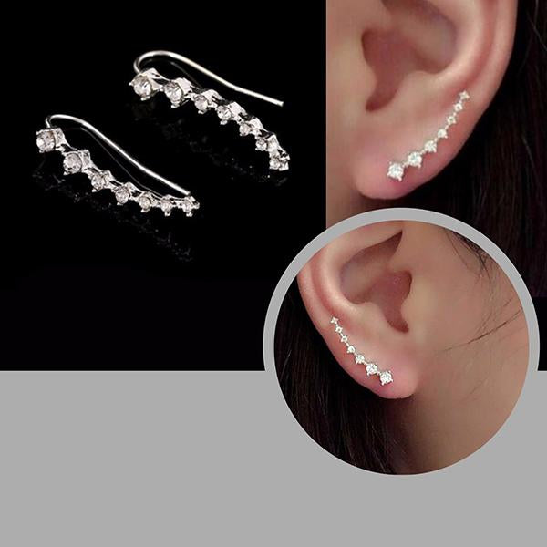 Studs Earrings Silver Crystal Climbers Wear With Love
