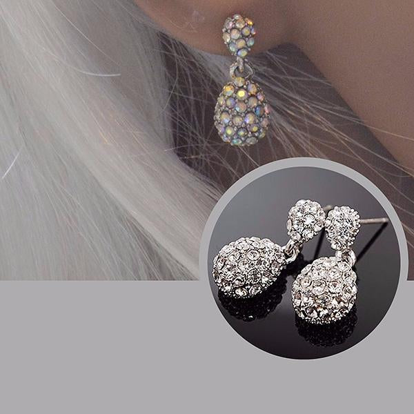 Studs Earrings Silver Crystal Cluster Wear With Love