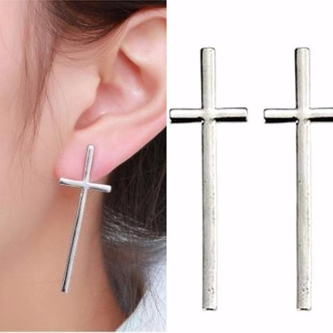 Studs Earrings Silver Long Cross Stud Wear With Love