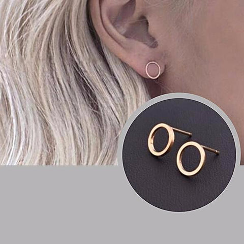 Studs Earrings Simplistic Hollow Circle Stud Wear With Love