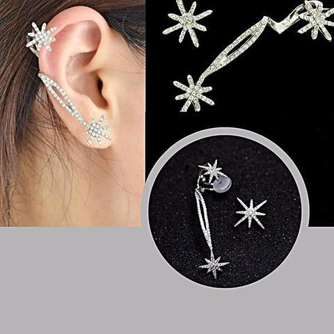Studs Earrings Snowflake Ear Jacket Crystal Wear With Love