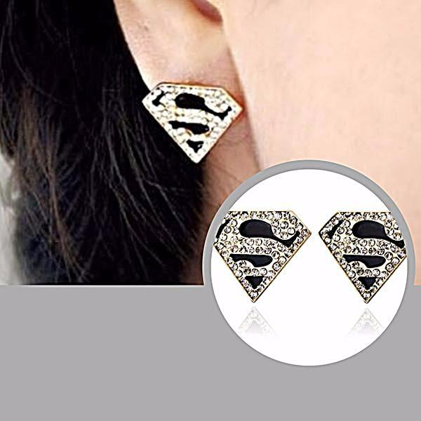 Studs Earrings Superhero Rhinestone Stud Comic Wear With Love