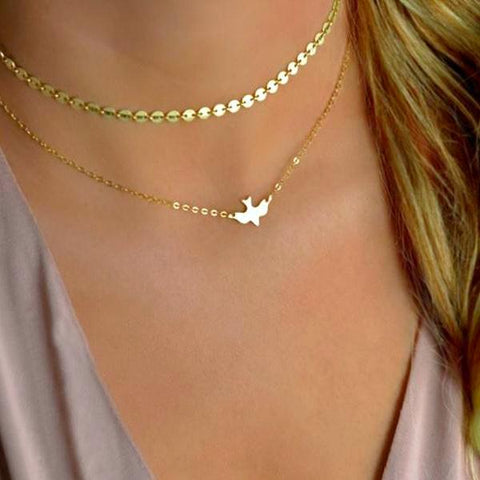 gold sequin and swallow bird double layer necklace