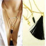 Fabulous Black & Gold Multi Layer Charm Tassel Necklace