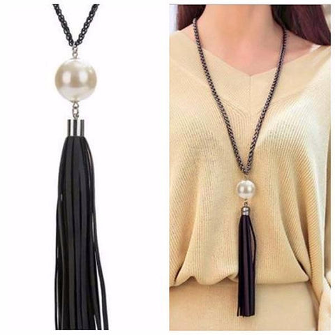 Black Leather Tassel Sweater Pearl Necklace