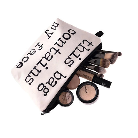 "Comical Slogan ""This Bag Contains My Face"" Makeup Bag"