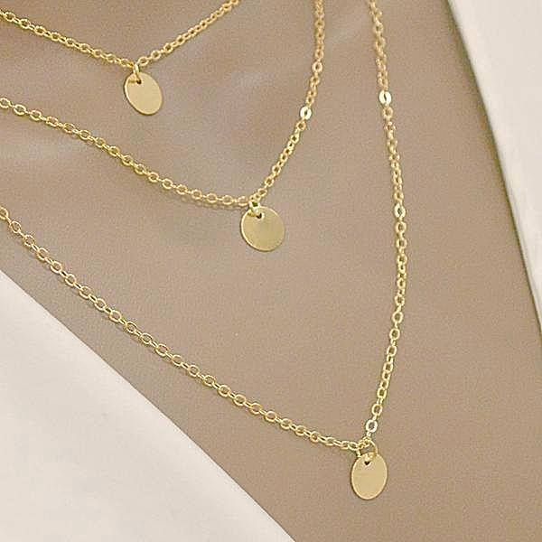 Minimalist Three Coin Clavicle Necklace