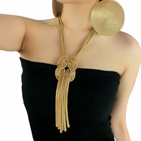 Long Gold Knotted Strand Chain Necklace