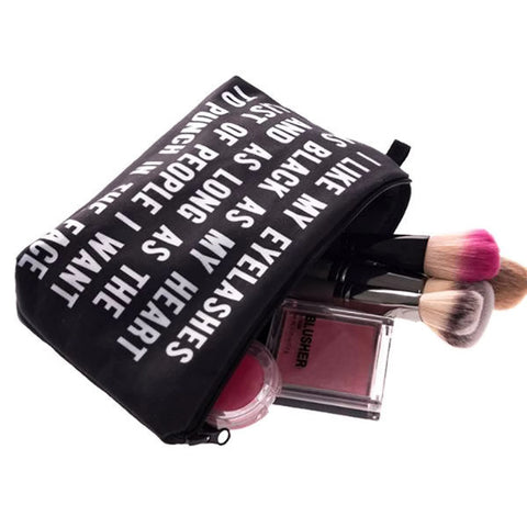 "Black And White Comical Slogan ""I Like My Eyelashes"" Makeup Bag"