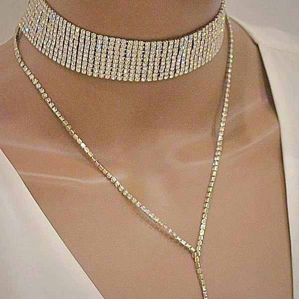 Vegas Star Y Design Choker Necklace