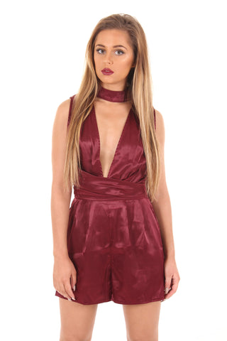 Burgundy silk playsuit
