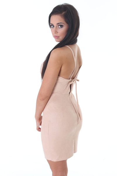 Beige suedette mini dress