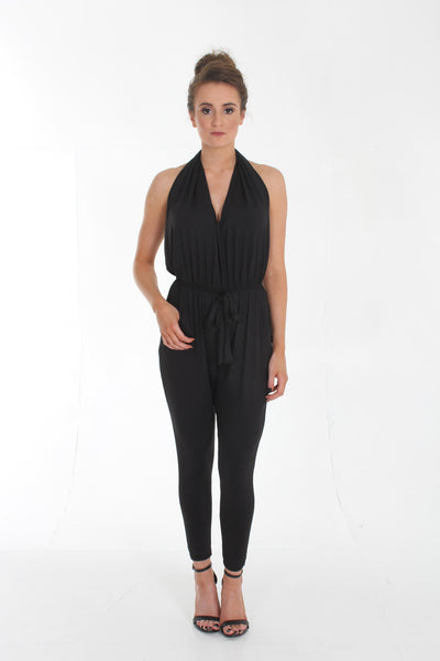 Black backless harem jumpsuit