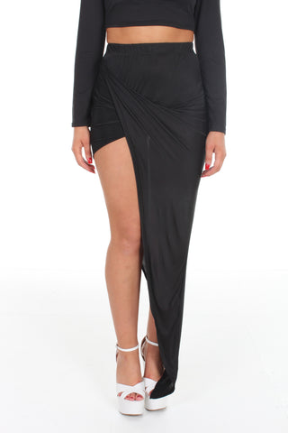 Black draped asymmetric skirt