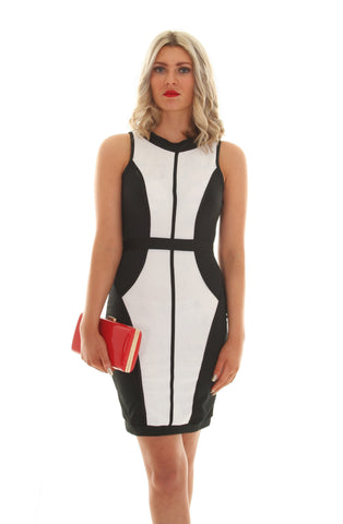 Black & white block dress